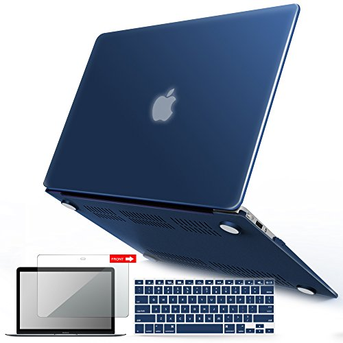 iBenzer MacBook Air 13 Inch Case, Soft Touch Hard Case Shell Cover with Keyboard Cover Screen Protector for Apple MacBook Air 13 A1369 1466 NO Touch ID, Navy Blue MMA13NVBL+2