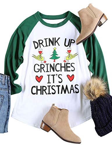 Nlife Women Drink UP Grinches It's Christmas T-Shirt Long Sleeves Casual Tops Blouse ()