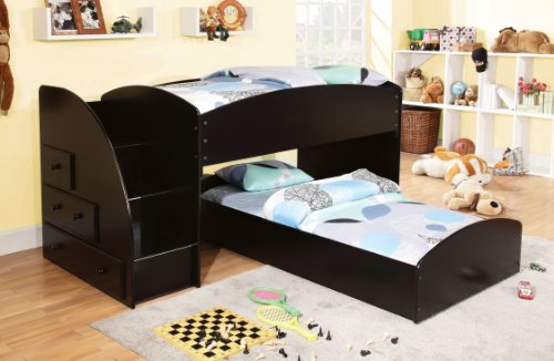 Furniture of America IDF-BK921BK-T with with Drawer Bunk Bed, Twin Over Twin, Black