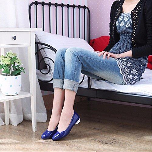 Einzelne Women's Pumps Candy mit Frauen Kopf Shoes Damen Riemchenpumps Flache Schuhe Geschlossene aus Mund RFF blue Casual Niedrig Mädchen Schuhe Ballerinas Leder Farbe Den 0wFAndAq