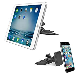 """APPS2Car Magnetic CD Slot iPad Car Mount Universal Tablet Dash Holder for 6-10.1 Inch Tablet, iPad Mini 4 3 2 1, iPad 2 3 4 Pro 9.7"""", Samsung Galaxy Tab A S2 S Pro Tablet (7"""" 8.4"""" 10.1""""), Neuxs 7 9"""