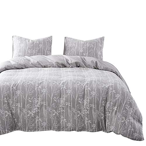 Wake In Cloud - Tree Duvet Cover Set, 100% Jacquard Cotton Bedding, Tree Branches Leaves Pattern in Gray Grey, Zipper Closure (3pcs, Queen Size)