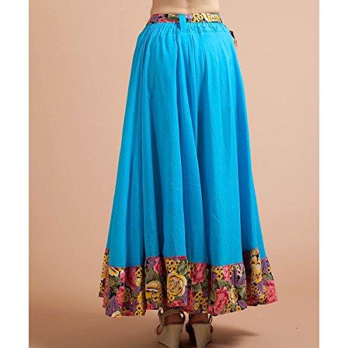 de Jupe FEOYA Femme Coton 90cm Plage Taille Bleu Plisse Longue Jupes t lastique XHqpxqS