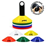 Shogun Sports Agility Cones (Set of 50 Multicolored. Carrier Stand Included). Soft Agility Disc Cones. Ideal for Soccer, Football, Speed Training, Kids, Field Marker Cones.