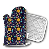 Solar System Set of Oven Mitt and Pot Holder, Microwave Glove Cotton High Heat Resistance Oven Mitts with Disk Pad for Kitchen Cooking Baking