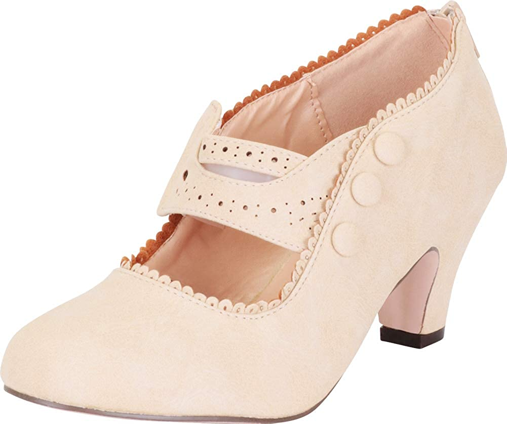 d20a79031e Amazon.com | Cambridge Select Women's Vintage Inspired Pinup Eyelet Cutout  Mary Jane Mid Heel Pump | Shoes