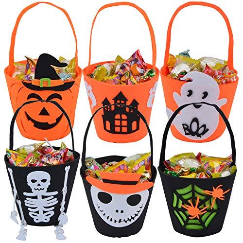 Coxeer Halloween Buckets, 6 Pack Halloween Trick or Treat Buckets Candy Bucket Pumpkin Holder