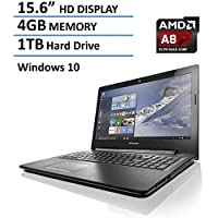 2016 Lenovo 15.6-inch Premium High Performance Laptop, AMD Quad-Core A8-6410 up to 2.4GHz, 4GB DDR3L, 1TB HDD, DVD RW Drive, HDMI, VGA, 802.11 bgn WiFi, Bluetooth, Webcam, Windows 10 64bit