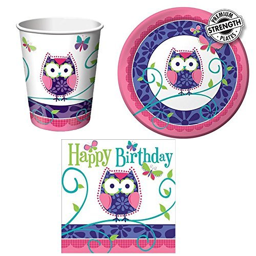 Cedar Crate Market Owl Pal Tableware Bundle 16: Cups, Lunch Napkins Dinner Plates]()