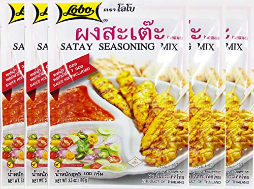 Lobo Thai Satay Seasoning Mix (Marinate Seasoning & Peanut Sauce Mix) No Added Preservatives, Pack of 5