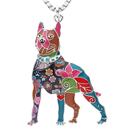 Luckeyui American Pit Bull Terrier Jewelry Gifts for Women Birthday Unique Dog Collection Animal - Dog Charm 3d Enamel