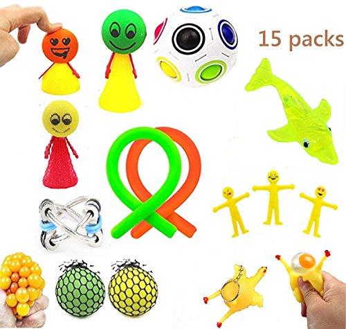 ZYZ 15 Pack Sensory Fidget Toys Bundle,Stress Relief Fidget Hand Toys Including Squeeze Grape Balls/Squeeze Chicken Key Chain/Fidget Stretchy Toy/Magic Cube/TPR Marine Organism/Fidget Bike Chain