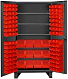 """Durham HDC36-108-3S1795 Lockable Cabinet with 108 Red Hook-On Bins, 36"""" Wide, 12 Gauge"""