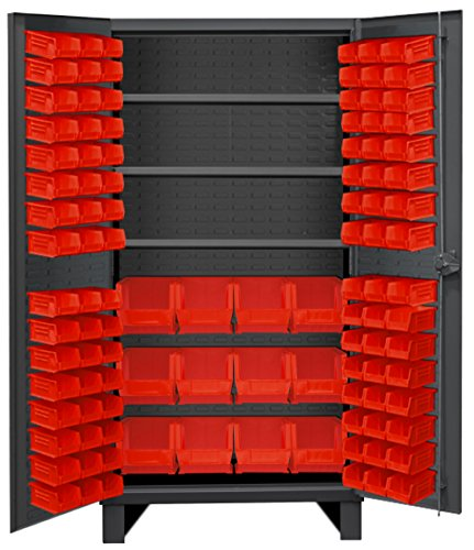 Durham HDC36-108-3S1795 Lockable Cabinet with 108 Red Hook-On Bins, 36