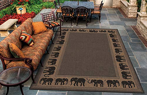 Couristan 1588/1021 Recife Elephant Cocoa/Black Rug, 3-Feet 9-Inch by 5-Feet 5-Inch