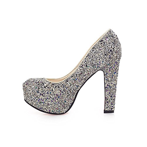 High Pump Glitter Blue Shoes Square Womens Party Wedding Shoes Silver Bridal AIWEIYi Heel xqZYgwq