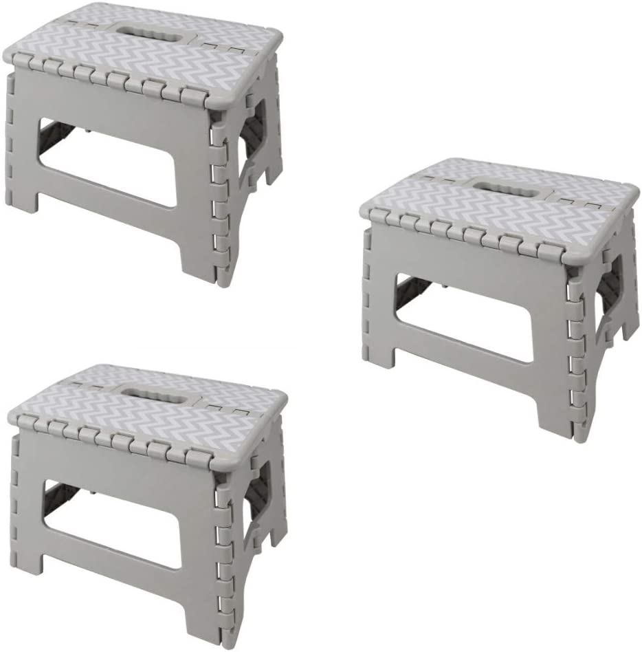Home Basics Chevron Foldable Plastic Step Stool with Convenient Carrying Handle, Grey (3)