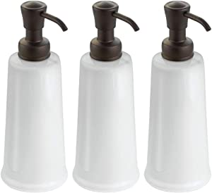 mDesign Modern Bathroom Ceramic Refillable Liquid Soap Dispenser Pump Bottle for Vanity Counter Tops, Kitchen Sink - Holds Hand Soap, Dish Soap, Hand Sanitizer & Essential Oils - 3 Pack - White/Bronze