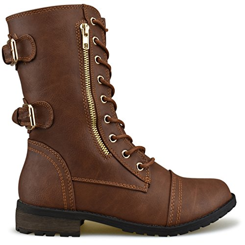 Premier Up Tan Mid Women's Lace Pu Buckle Ankle Military Booties Exclusive Combat Boots High Standard Knee HqHxwUFR