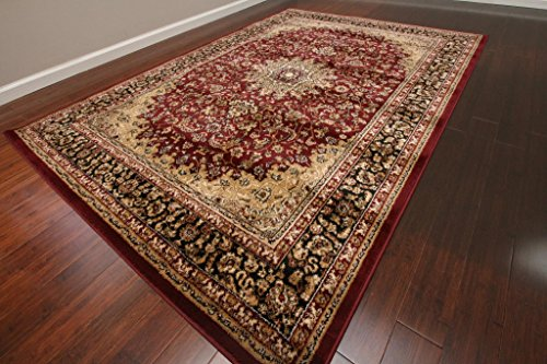 Feraghan/New City Traditional Isfahan Wool Persian Area Rug, 9 x 12'4, Burgundy/Red