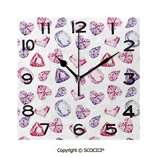 SCOCICI 8 inch Square Clock Amethyst Heart and Triangle Shaped Diamonds Hanging Prints Art Decorative Unique Wall Clock-for Living Room, Bedroom or Kitchen Use