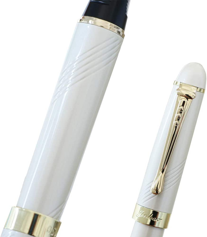 JinHao X450 18KGP 0.5mm Medium Nib Spiral Curve Pearl White Fountain Pen Smooth Writing as Classic Gift