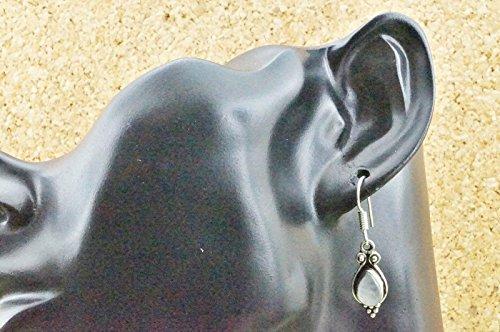 Boucles d'oreilles plaqué argent avec pierre de lune 9 mm x 36 mm