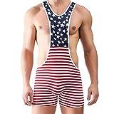 Iffee Men's American Flag Wrestling Singlet Gym Underwear Bodysuit Lingerie Outfit Pants Medium
