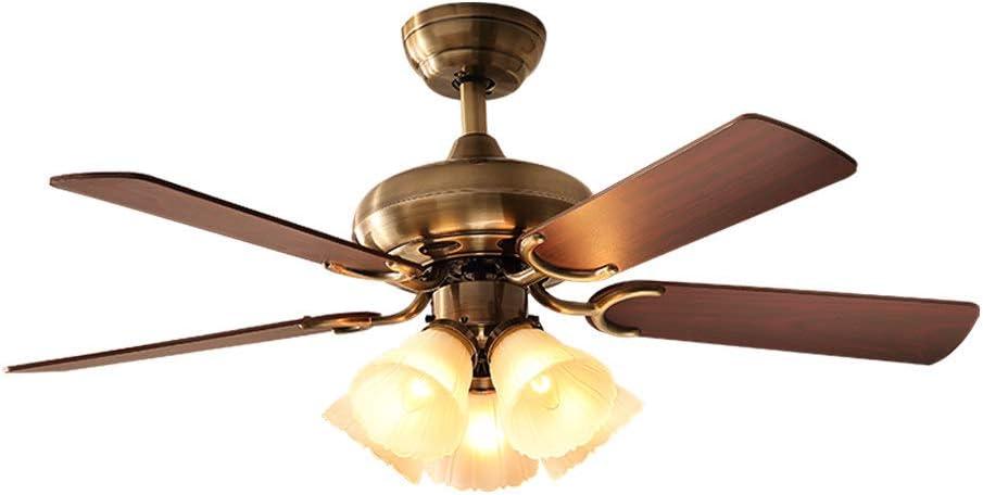 XGBIN American Fan Light, Sala de Estar Minimalista y Moderna cargada luz de Ventilador de Techo, Dormitorio en el hogar, lámpara de araña, luz led