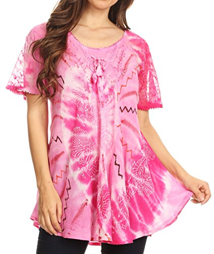 Sakkas 18705 - Hira Women Short Sleeve Eyelet Lace Blouse Top in Tie-dye with Corset Flowy - Pink - OSP ()