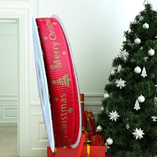 BESTOYARD メリークリスマスレッドリボン両面クリスマスギフトラッピングリボンストリップクリスマスギフトDIY用品