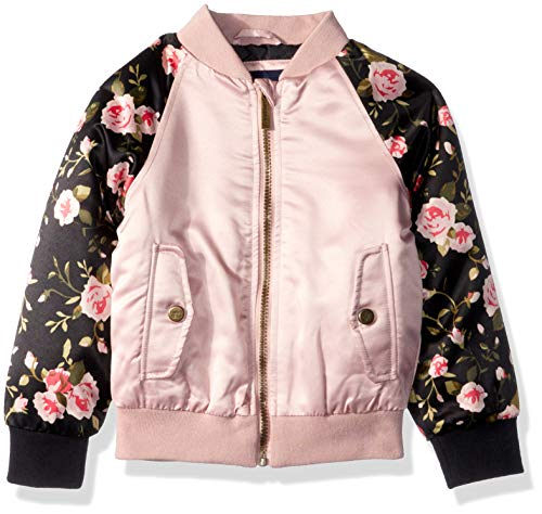 (Limited Too Girls' Big' Bomber Jacket with Floral Print, Blush,)