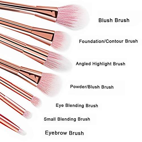CINEEN professionelles 7-teiliges Set für Make-up, Kosmetik-Pinsel, Puder, Foundation, Lidschatten, Lippenpinsel