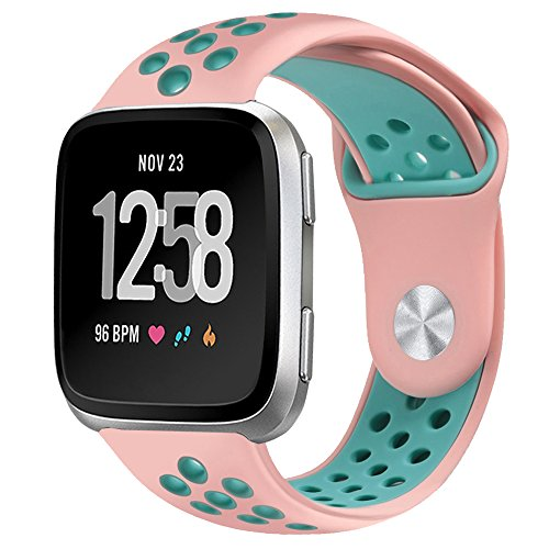 NO1seller Top Bands Compatible for Fitbit Versa Small Large, Soft Silicone Sport Strap with Ventilation Holes Replacement Wristband for Fitbit Versa Fitness Smart Watch Women ()