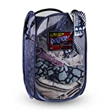 NYHI Mesh Pop-Up Laundry Hamper | Foldable and Portable | Reinforced Carry Handles | Includes Extra Side Pockets | Fold Flat for Easy Storage and Travelling | Odor & Moisture Proof Clothing Basket