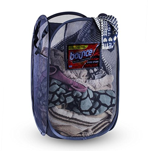 Foldable Pop-Up Mesh Hamper, Laundry Hamper with Reinforced Carry Handles (Rectangle, Navy)