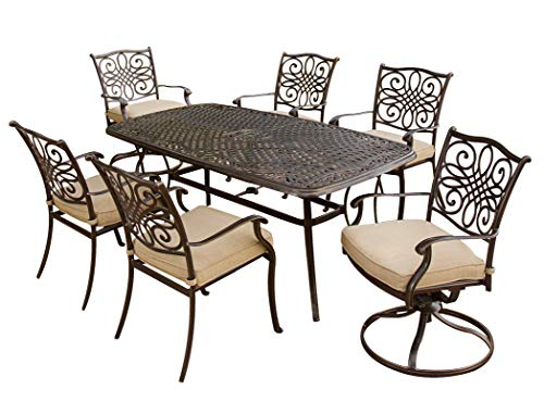 """Hanover TRADITIONS7PCSW, 4 Stationary, 2 Swivel Rocker Chairs, and 38""""x72"""" R Traditions 7-Piece Cast Aluminum Outdoor Patio Dining Set, Bronze Frame, Tan - Durable, weather-resistant set has 4 deep-cushioned dining chairs, 2 deep-cushioned swivel-rockers with 360-degree spin. Blended extruded-aluminum and decorative-cast components with hand-applied multiple-coat finish remains rust-free for the lifetime of the furniture Deep seat cushions for optimum comfort are quick-drying, stain-resistant, UV protected and maintain their original shape - patio-furniture, dining-sets-patio-funiture, patio - 51AK2uqXtYL -"""