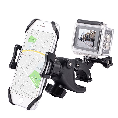 YELIN Bike Phone Mount Motorcycle Phone Holder Bike Camera Mount 2 in 1 Bicycle Holder Handlebar Clamp Compatible Gopro Action Cam iPhone X 8 7 7 Plus 7s 6s Samsung Phone