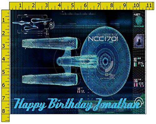 Star Trek Enterprise Personalized Birthday Edible Frosting Image 1/4 sheet Cake Topper