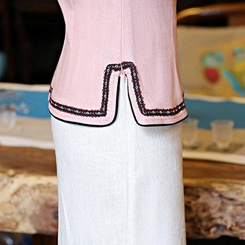 chino Acvip larga tradicional blusa manga Tang para con rosa de mujer Chaqueta estilo qxwRUaOpR