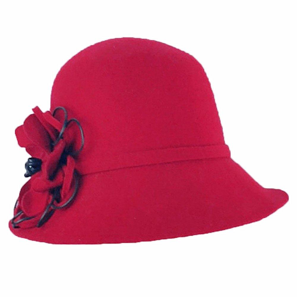 Shuo lan hu wai Herbst und Winter weiblicher Wollfilz-Hut-roter Blumen-Bankett-Hut