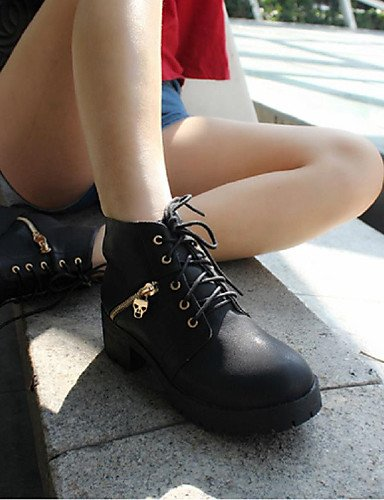 Negro Xzz Exterior Zapatos Sintético Robusto Eu39 casual Uk6 oficina Cn39 De Black Mujer Botas Trabajo Anfibias us8 Cuero Y Tacón 6p6zA