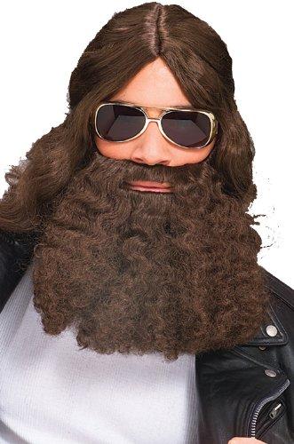 2046 (Brown) Costume Beard Long Curly Character Beard & Mustache Long Fake -