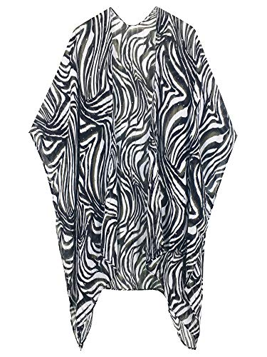 Moss Rose Women's Beach Cover up Swimsuit Kimono Cardigan with Bohemian Floral Print (Zebra)