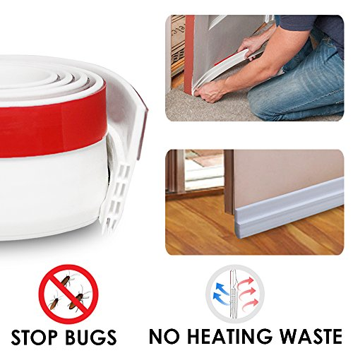 Door Draft Stopper Door Bottom Seal Weather Stripping- BLENDX Under Door Sweep Waterproof Weather Strip Energy & Money Saving, 2
