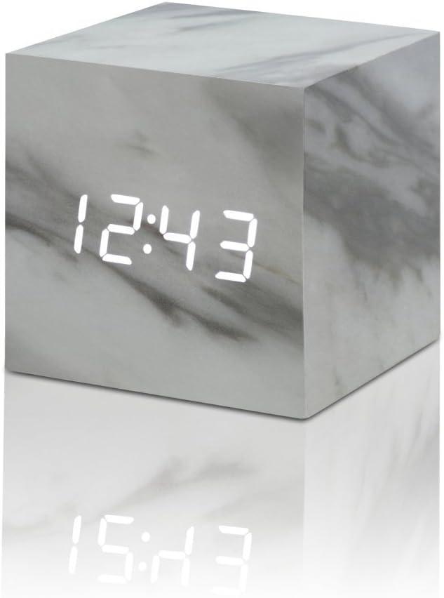 "Gingko Cube Click Clock 2.5"" x 2.5"" Time/Date/Temp (Marble) Alarm Clock"