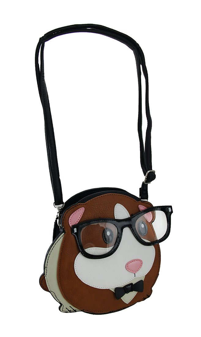 Vinyl Womens Cross Body Bags Sleepyville Critters Geeky Glasses Guinea Pig Cross Body Purse 8.5 X 7.5 X 1.25 Inches Brown