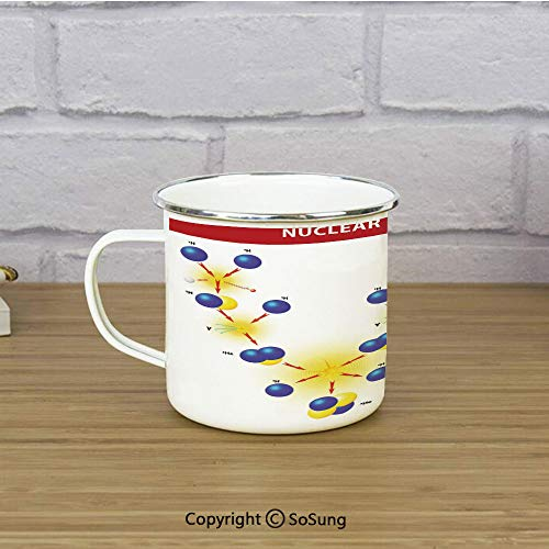 Educational Travel Enamel Mug,Nuclear Fusion Proton Neutron Chain Hydrogen Cosmic Energy Molecule Atom Decorative,11 oz Practical Cup for Kitchen, Campfire, Home, TravelBlue Red Yellow