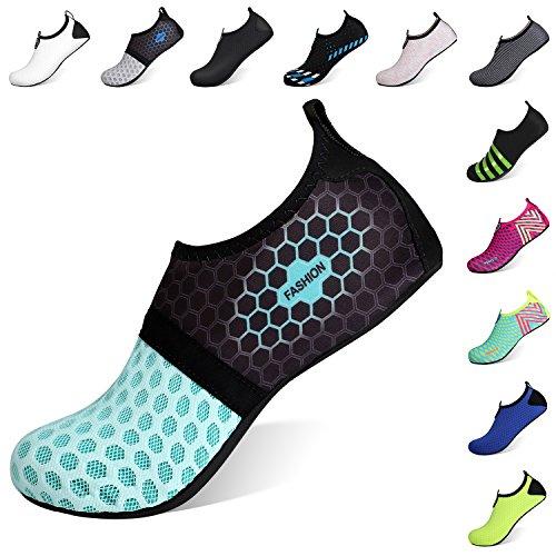 Heeta Barefoot Water Sports Shoes for Women Men Quick Dry Aqua Socks for Beach Pool Swim Yoga Dot_Blue S - Beach Dot