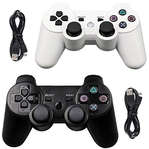 Tidoom PS3 Controller 2 Pack Wireless Bluetooth 6-Axis Gamepad Controllers Compatible for Playstation 3 Dualshock 3 (White + Black)